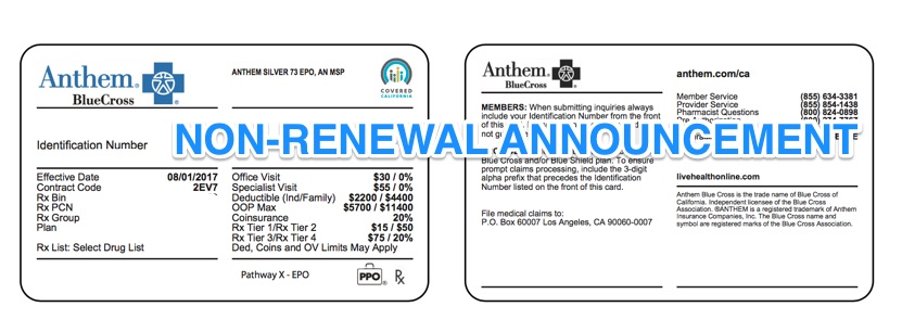 Anthem Blue Cross discontinues Individual Health Insurance ...